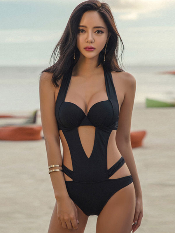 Black Sexy Swimsuit Women Halter Cut Out Backless Swim Bathing Suit