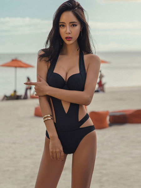 Black Sexy Swimsuit Women Halter Cut Out Backless Swim Bathing