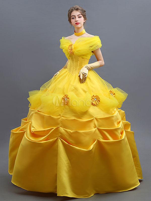... Disney La Bella e La Bestia cosplay costume Film donna  guanti colletto abito Carnevale-No. ... 0e7cd1cbe0b