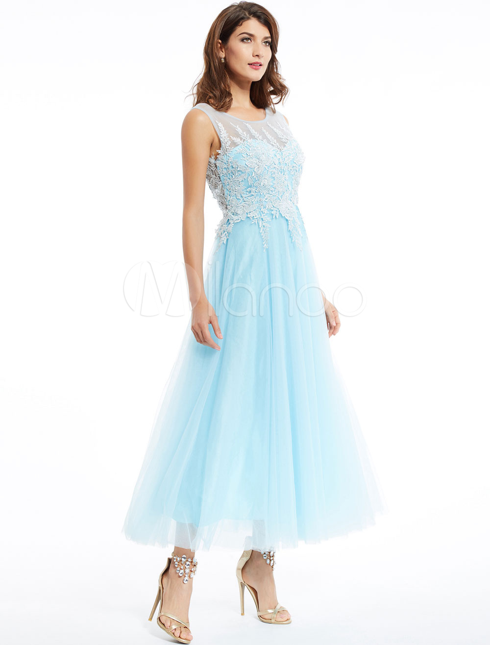 Prom Dresses Long Lace Chiffon Pastel Blue Sleeveless Applique Ankle