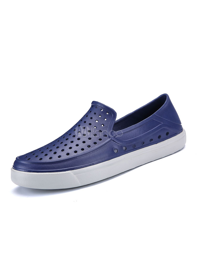 Buy Men Casual Shoes Deep Blue Sandals Round Toe Cut Out Slip On Shoes for $21.24 in Milanoo store