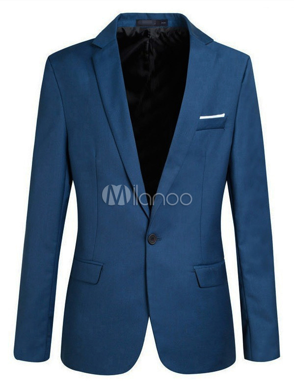 Buy Blazer Jacket Men Notch Collar One Button Pocket Blue Casual Blazer For Men 2018 for $24.29 in Milanoo store