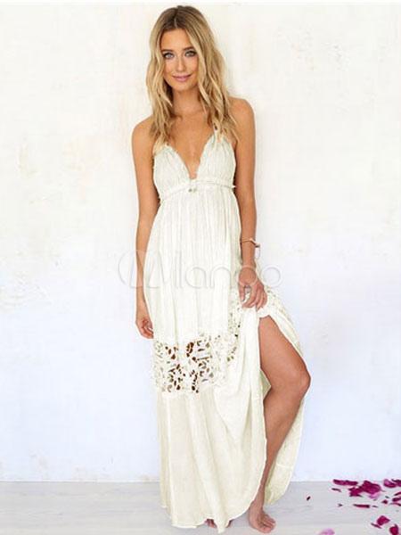 excepcional gama de colores gran descuento mejor sitio web Vestido de verano 2019 Vestido maxi sin espalda de las mujeres del vestido  blanco