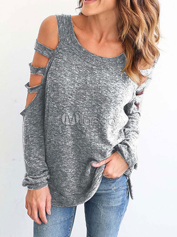 Long Sleeve T Shirt Cold Shoulder Round Neck Cut Out Grey Top For Women
