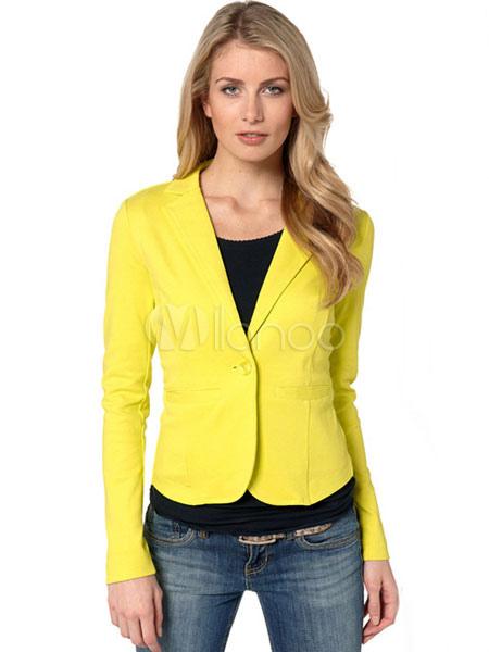 d0b0519de4 Blazer Americanas mujer de algodón mezclado Cuello convertible Color liso  con botones estilo moderno-No ...