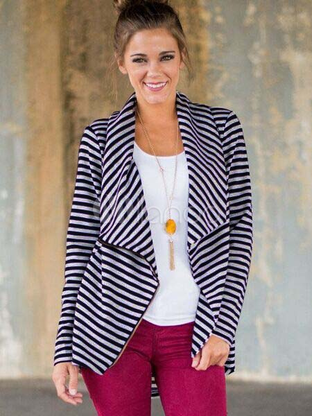 Blue Casual Jacket Long Sleeve Striped Waterfall Jackets For Women
