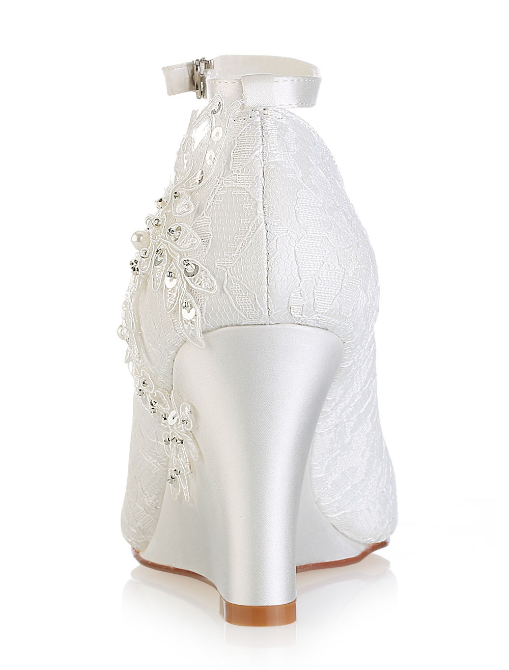 8d9841ea9 ... Lace Wedding Shoes Ivory Peep Toe Flowers Detail Wedge Shoes Ankle  Strap Bridal Shoes-No ...