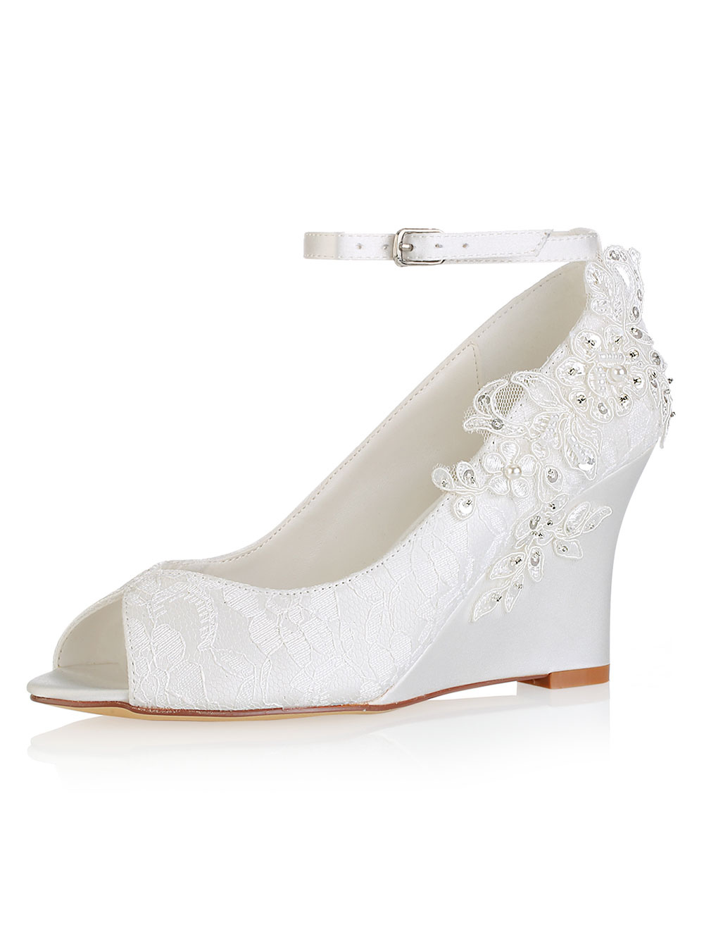 Buy Lace Wedding Shoes Ivory Peep Toe Flowers Detail Wedge Shoes Ankle Strap Bridal Shoes for $55.79 in Milanoo store