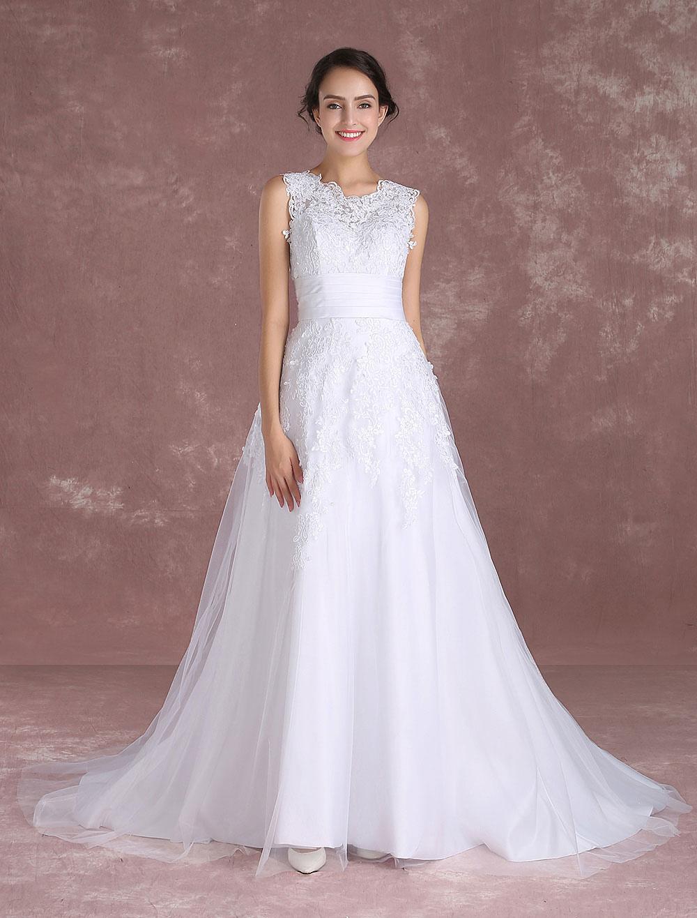 White Wedding Dresses Lace Applique Sleeveless Bridal Gown Detachable Train Satin Sash Dressno: White Wedding Dresses No At Websimilar.org