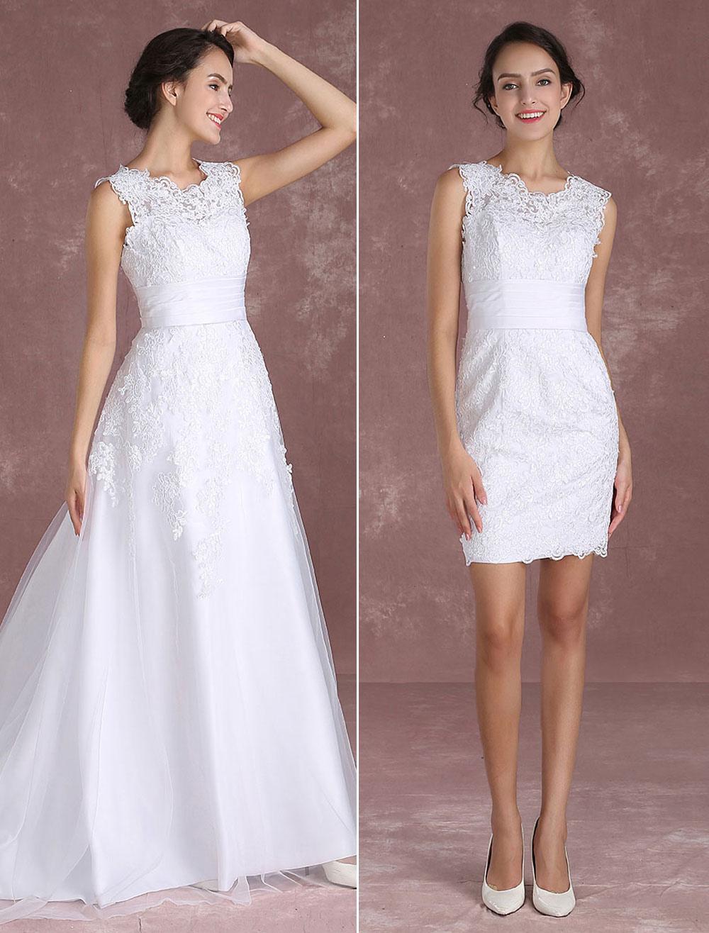 Buy White Wedding Dresses Lace Applique Sleeveless Bridal Gown Detachable Train Satin Sash Bridal Dress for $123.49 in Milanoo store