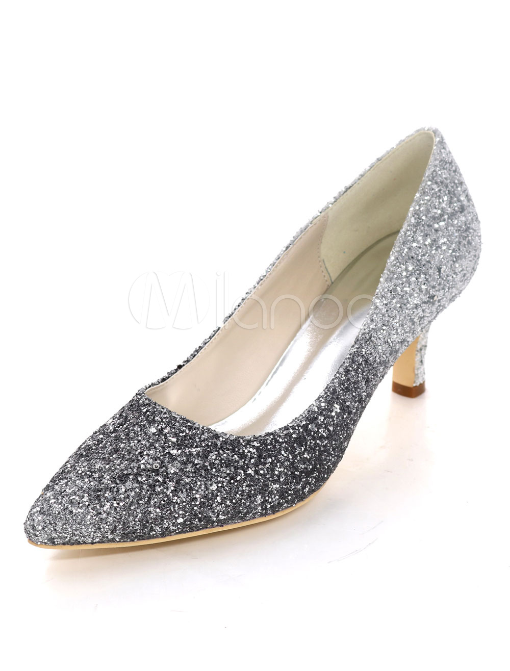 Kitten Heel Pumps Sequined Pointed Toe Slip On Pumps Women Dress Shoes
