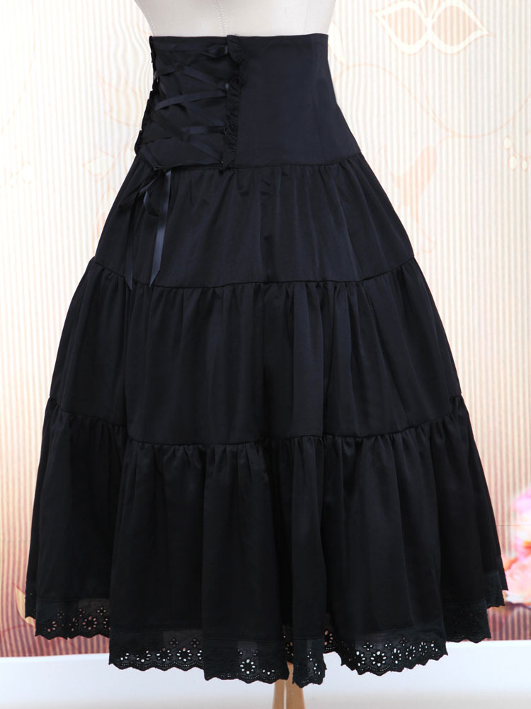 Pure Black Cotton Loltia Long Skirt High Waist Ruffles Trim