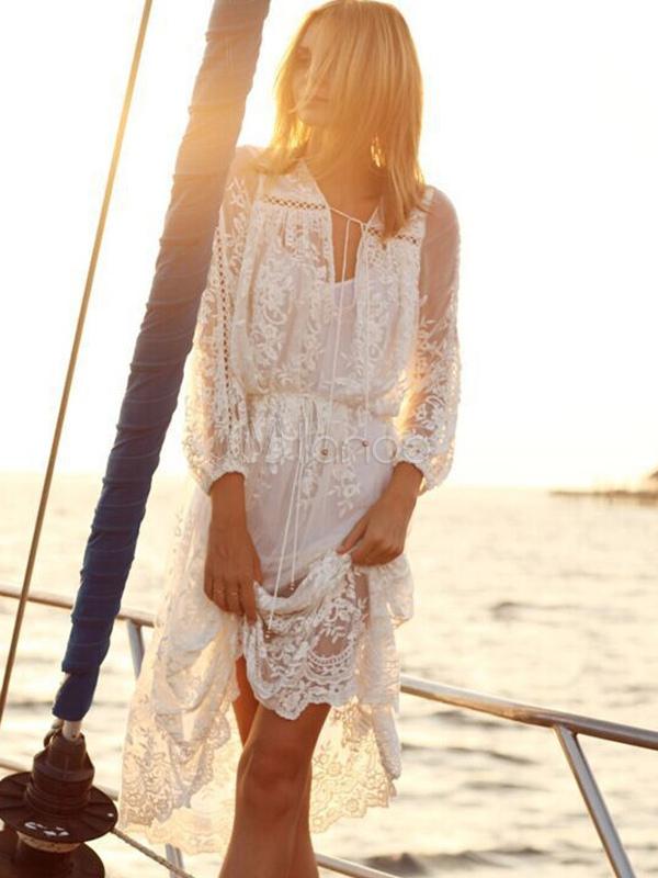 Ausverkauf Schuhwerk erstaunliche Qualität Weiß 2019 Langes Kleid Spitze V-Ausschnitt Langarm Maxikleid Frauen Boho  Kleid In 2 Stück