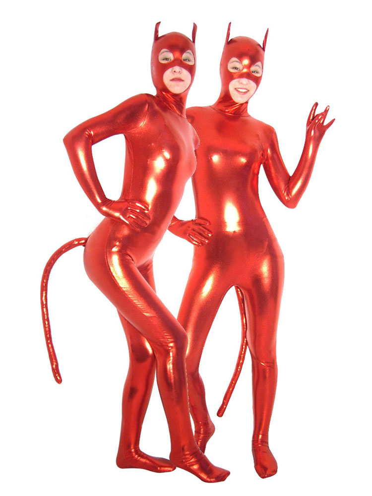 Buy Halloween Sexy Red Devil Catsuit with Mouth and Eyes Opened Costume Cosplay Halloween for $42.74 in Milanoo store