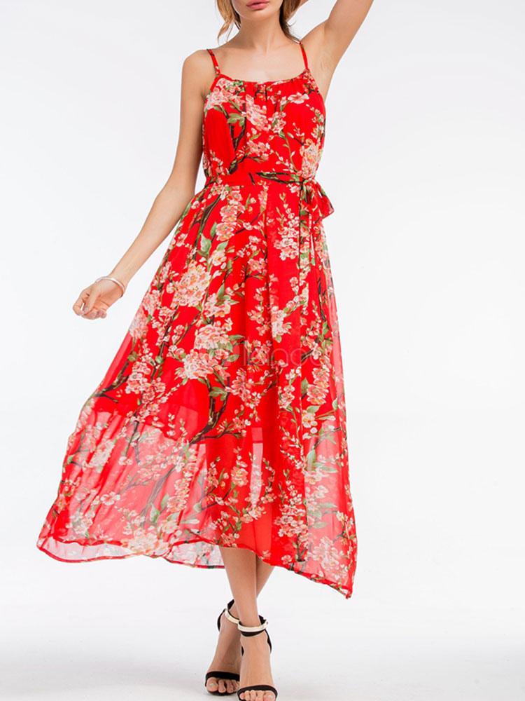 Cross Back Maxi Dress Red Floral Print Dress