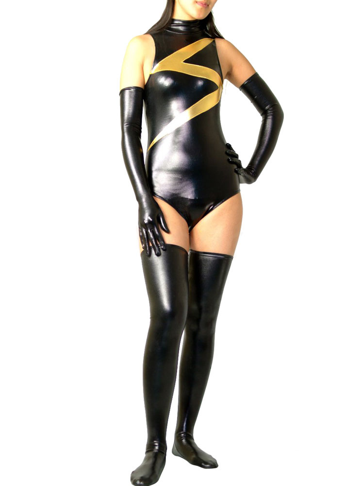 Flash Woman Catsuit Black Shiny Metallic Half Length Suit with Gloves and Stockings  Halloween