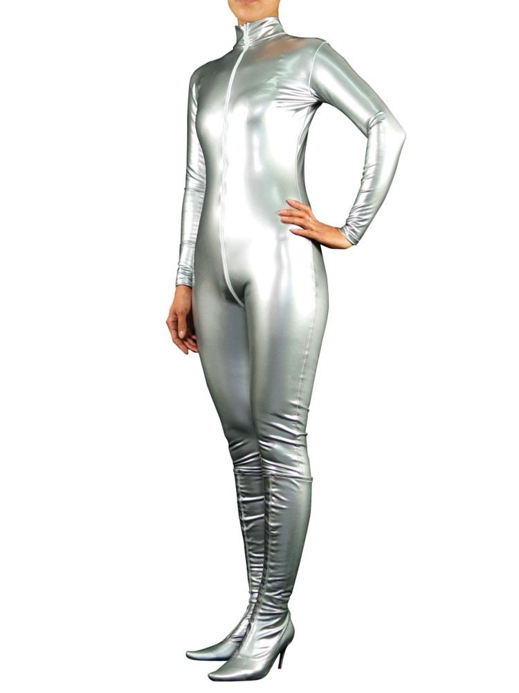 Halloween Silver PVC Front Open Unisex Catsuit Halloween