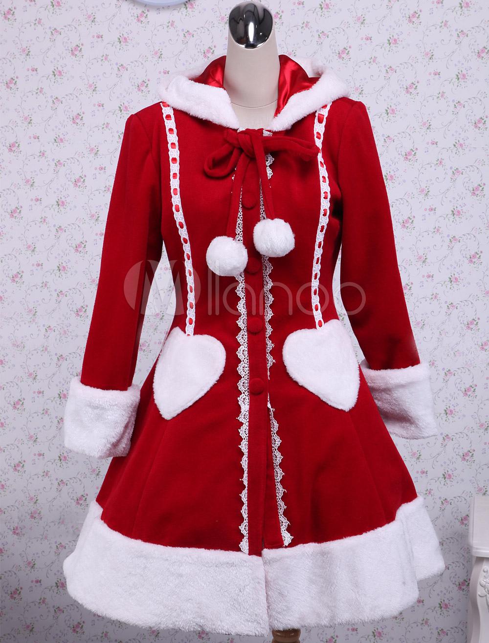 Sweet Red Long Sleeves Wool Lolita Overcoat With Hood