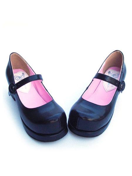 Matte Black Lolita Square Heels Shoes Ankle Strap Buckle Round Toe