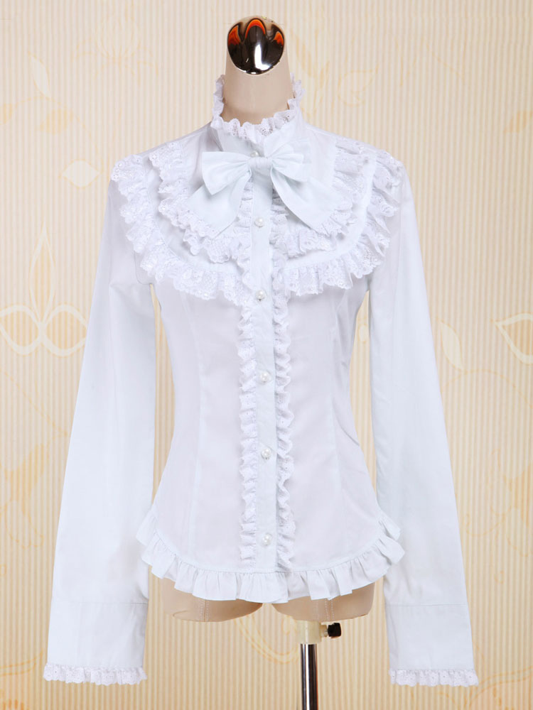 Buy White Cotton Lolita Blouse Long Sleeves Stand Collar Lace Trim Ruffles Bow for $42.29 in Milanoo store