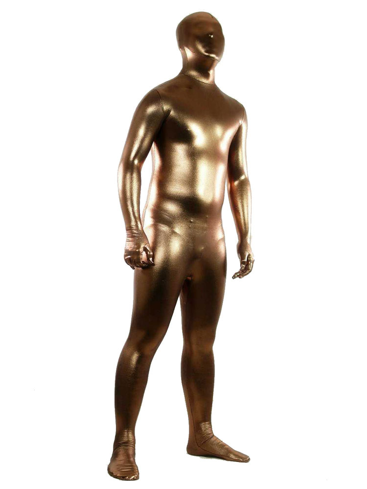Buy Halloween Coffee Shiny Metallic Unisex Zentai Suit Halloween for $36.99 in Milanoo store