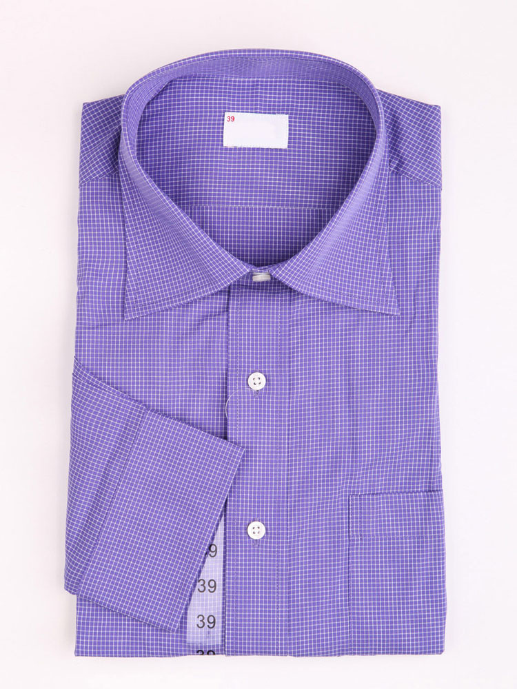 Buy Brioso Blue Checked Dress Long Sleeves 100% Cotton Mens Shirt for $17.09 in Milanoo store
