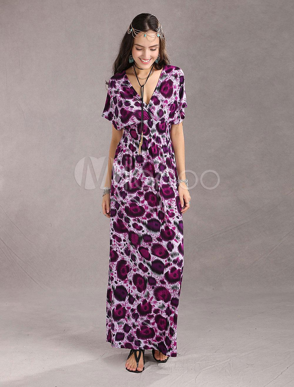 Elegent Purple Floral Ice Silk Womens Maxi Dress