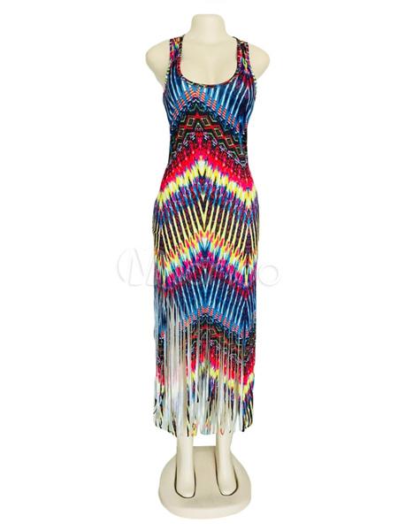... Abito lungo donna Multicolor stampato vestito estivo con frangia-No.3  ... 10073491c24
