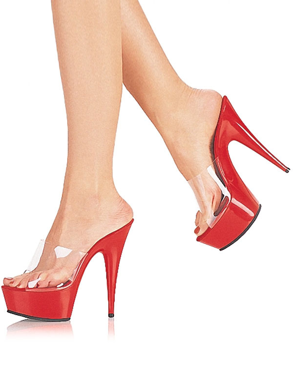 Women Clear Sandals Platform Open Toe High Heel Sandals Red Sexy Shoes