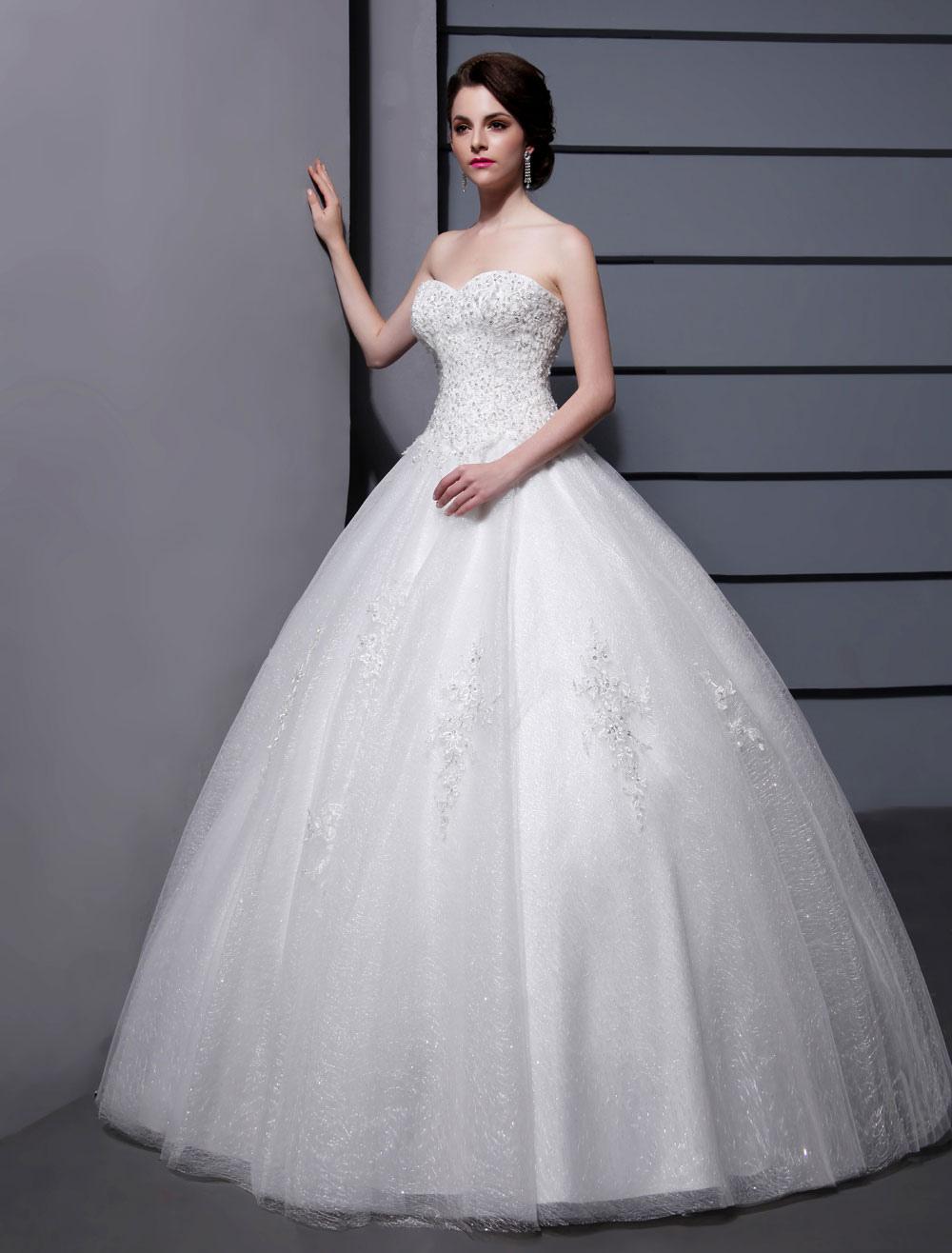 Wedding Dresses Ball Gown Strapless Bridal Dress Ivory Sweetheart ...