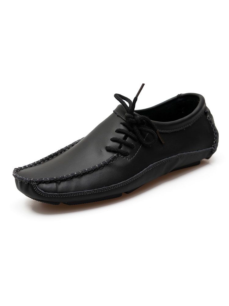 Black Cowhide Loafers Men's Slip On Round Toe Loafers