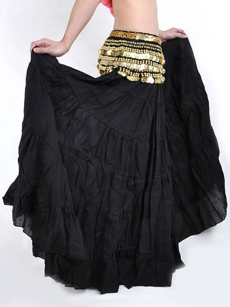 Skirt Belly Dance Costume Black Linen Bollywood Dance Bottom