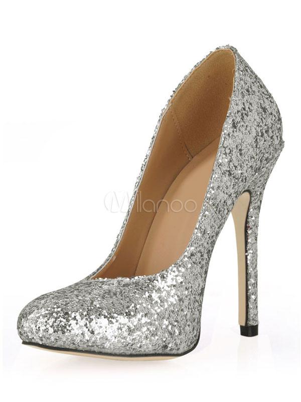 Zapatos de tacón de tela con lentejuelas plateadas dYL0YnQrx