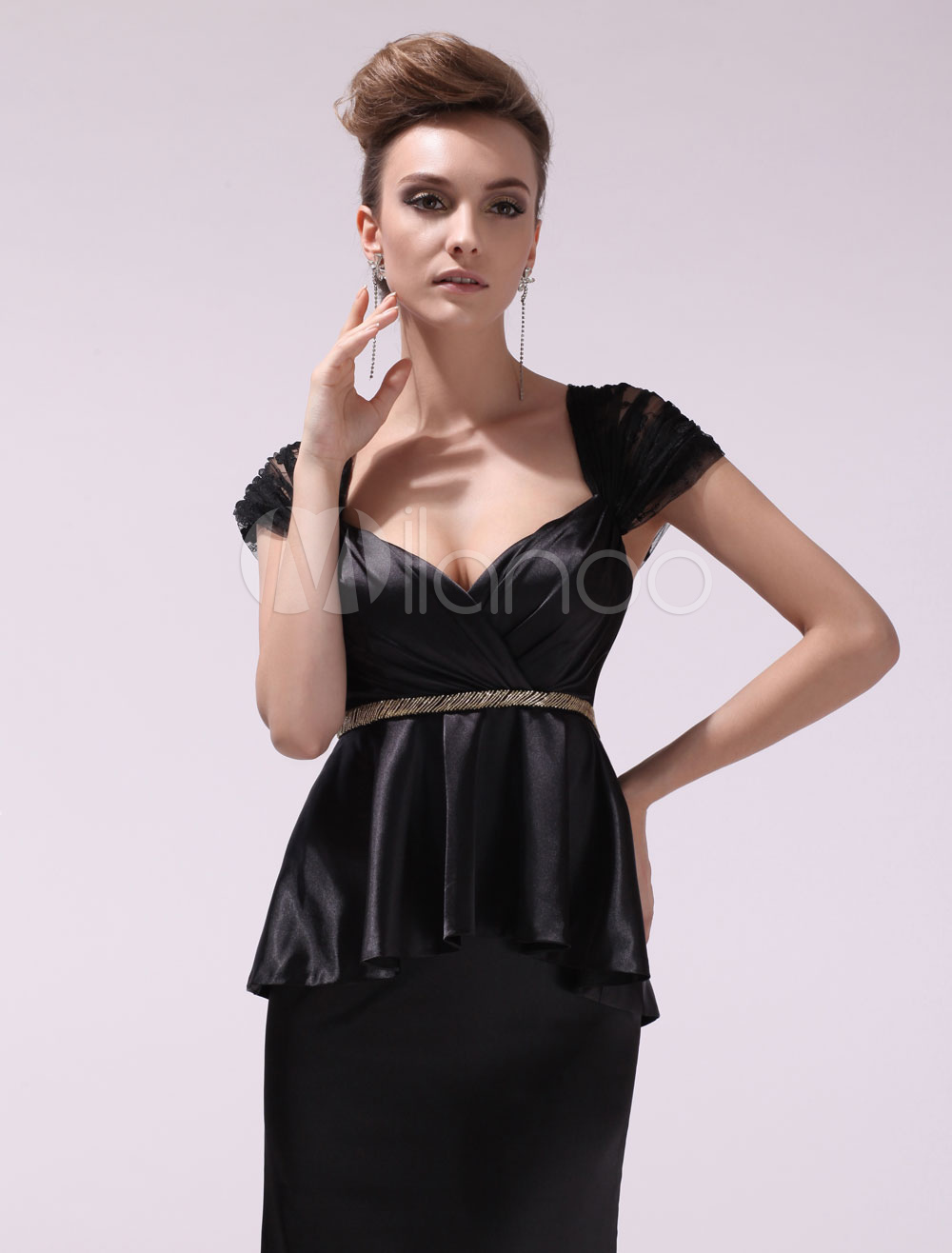 Black Pleated Sweetheart Short Sleeves Mermaid Evening Dress For Women  Milanoo