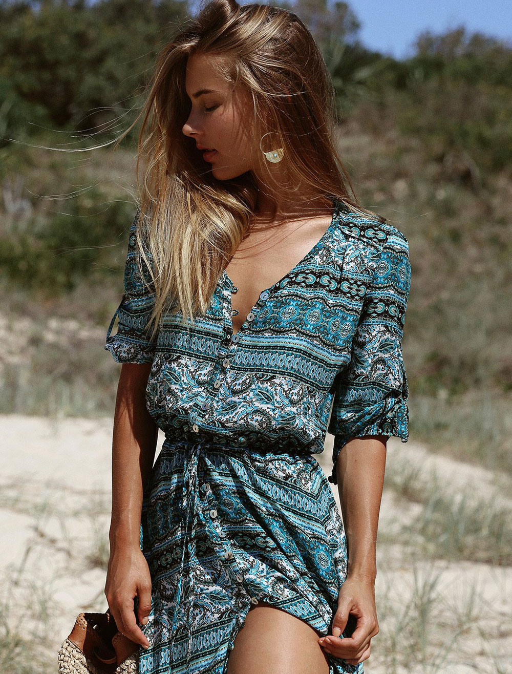 9c4679915cc ... Women Maxi Dress Boho V Neck Half Sleeve Printed Split Green Summer  Long Dresses-No ...