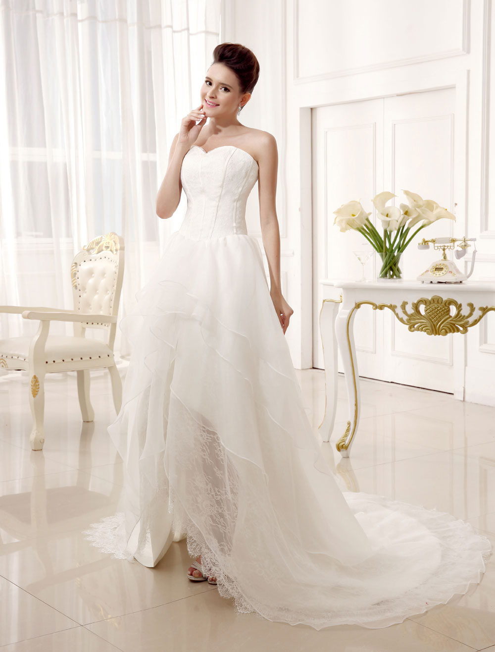 658bd38b5f4 ... Ivory A-line Sweetheart Neck Strapless Tiered Bridal Wedding Gown-No.3  ...