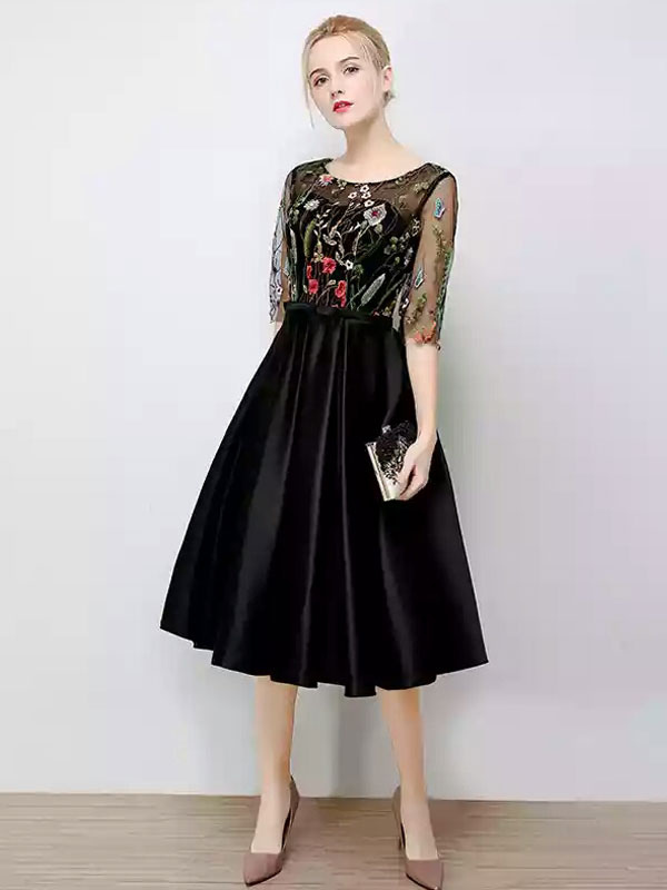 Buy Black Prom Dress Illusion Embroidered Bow Sash Cocktail Dress Jewel Half Sleeve Knee Length A Line Party Dress for $114.39 in Milanoo store