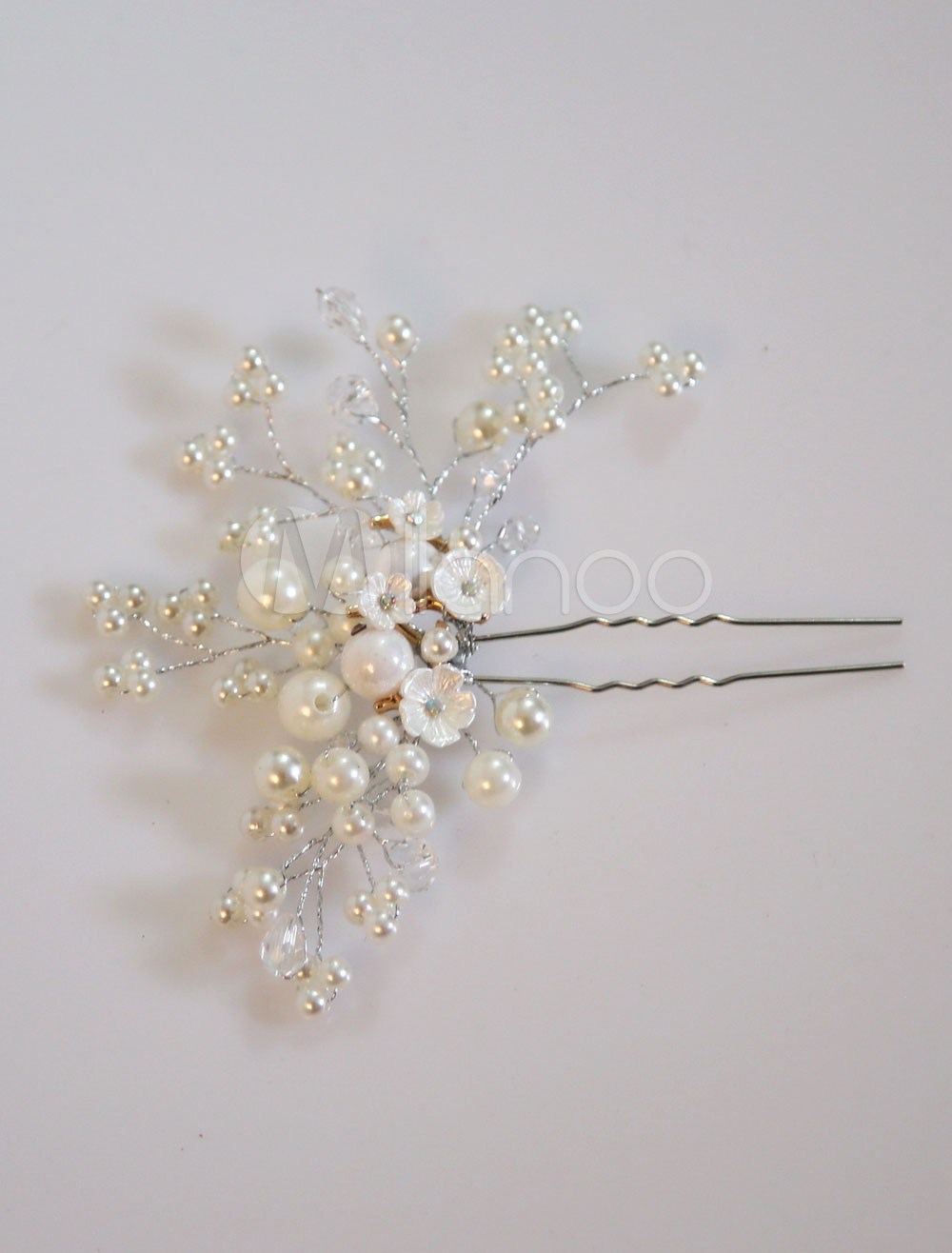 Buy Pearl Wedding Headpieces Vintage Hair Pin Ivory Flowers Bridal Hair Accessories for $7.99 in Milanoo store