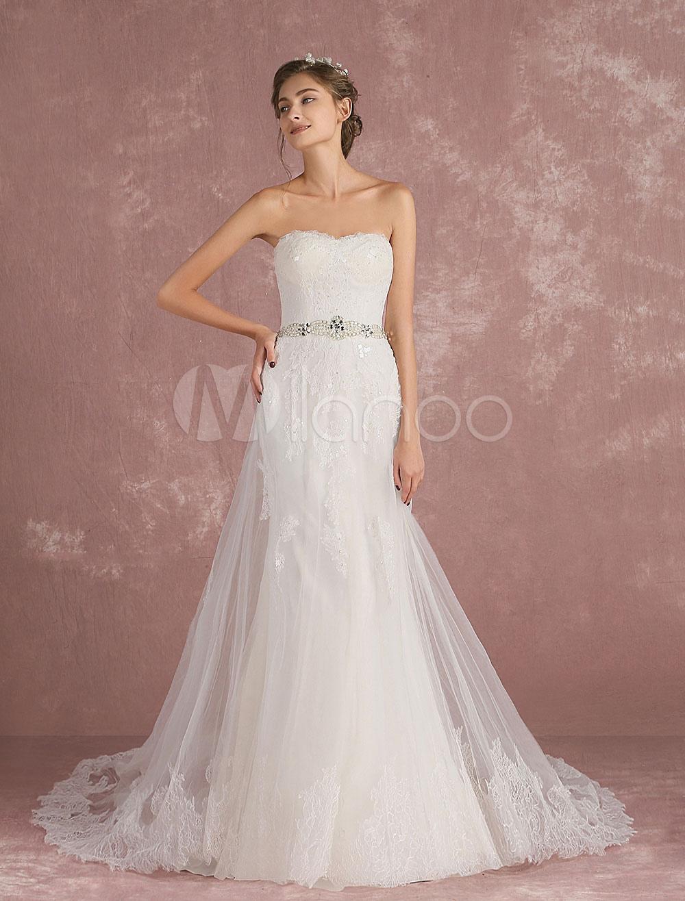 A Linie Brautkleid in Elfenbeinfarbe mit Reißverschluss trägerlos ...