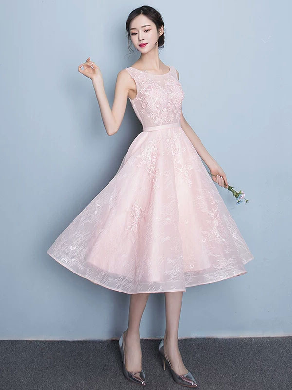 Buy Lace Prom Dress A Line Tea Length Cocktail Dress Soft Pink Jewel Sleeveless Homecoming Dress With Sash for $114.39 in Milanoo store
