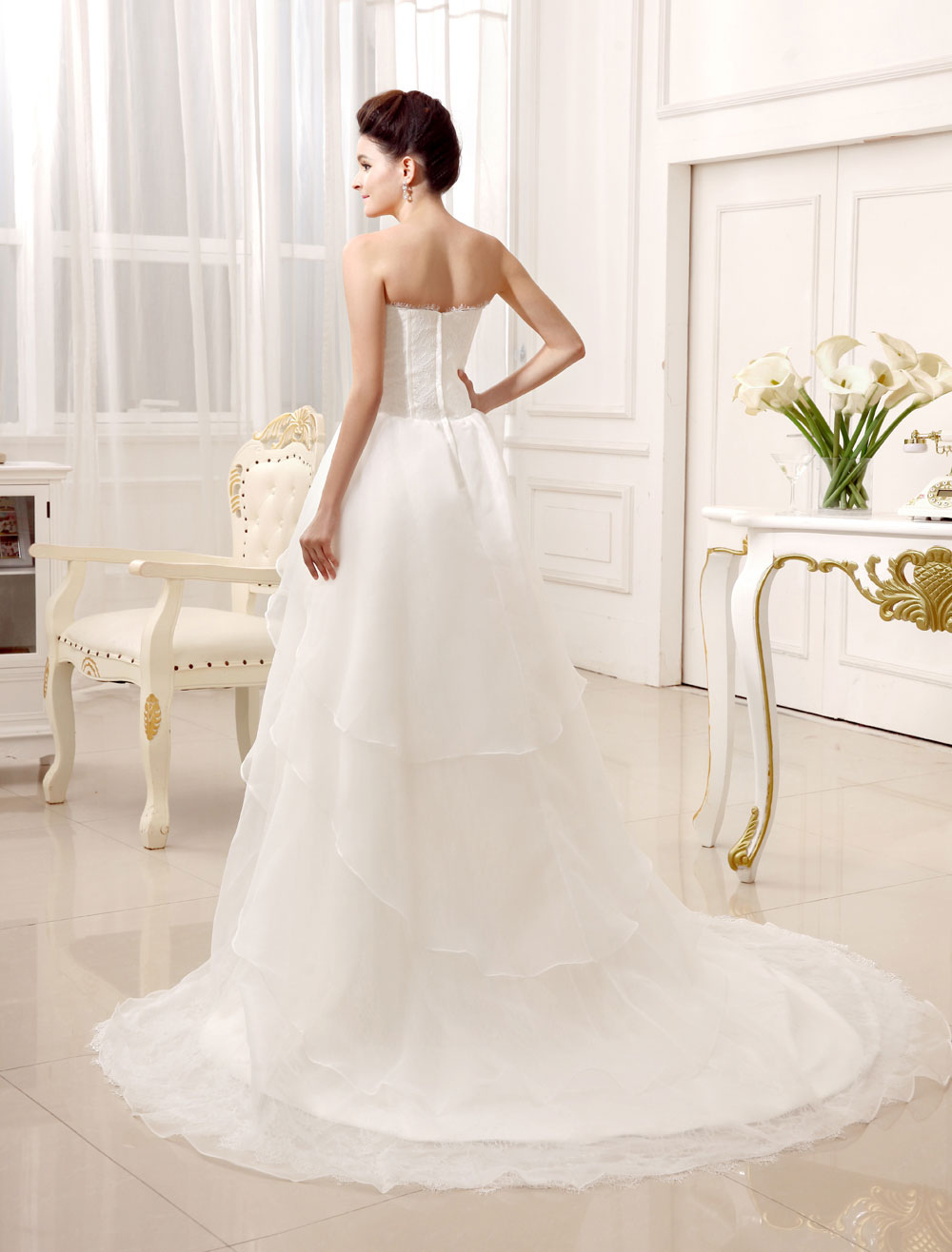 2a7b0ef2afa ... Ivory A-line Sweetheart Neck Strapless Tiered Bridal Wedding Gown-No.4  ...