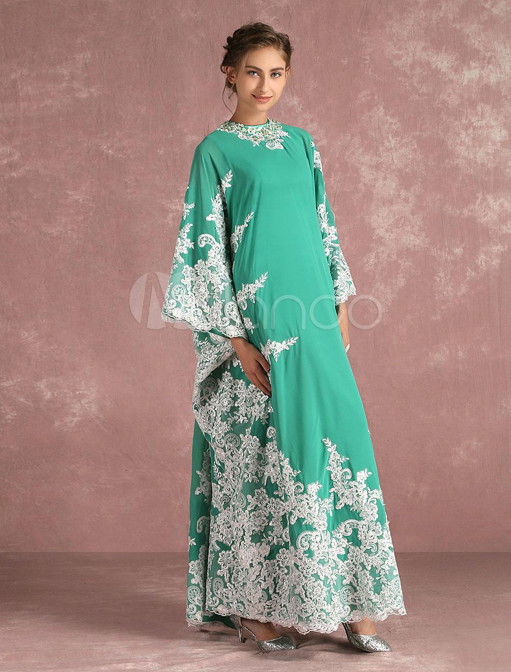 Muslim Evening Dress Lace Applique 2 Piece Mother's Dress Floor Length Occasion Dress In Blue Green