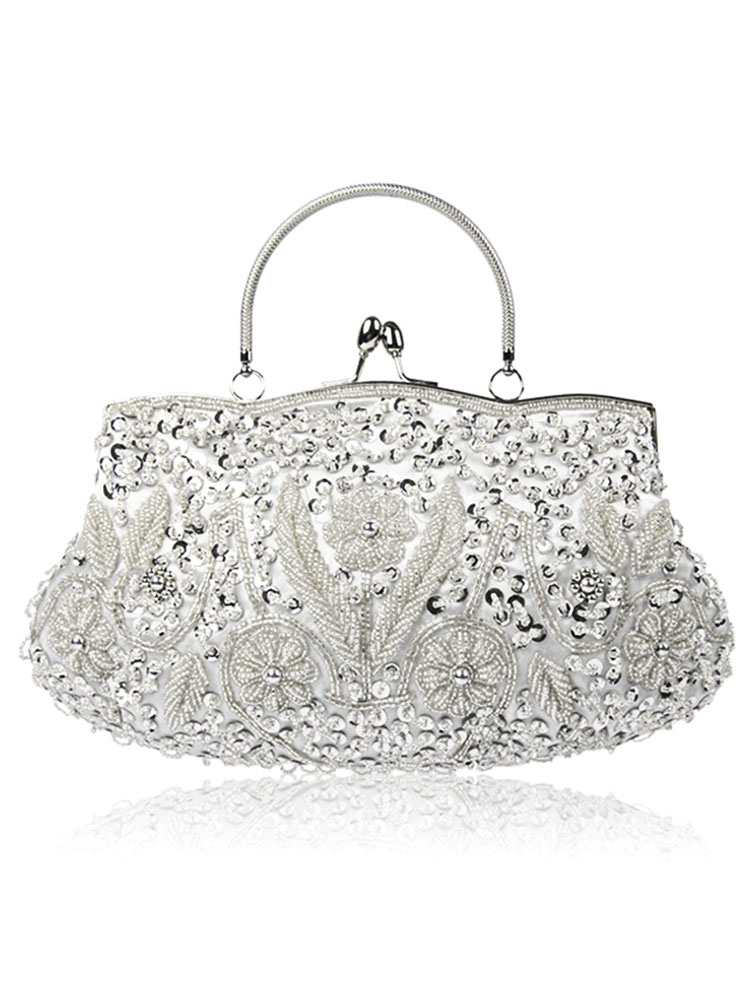 Sequin Wedding Clutch Bags Vintage Silver Beading Bridal Clutches