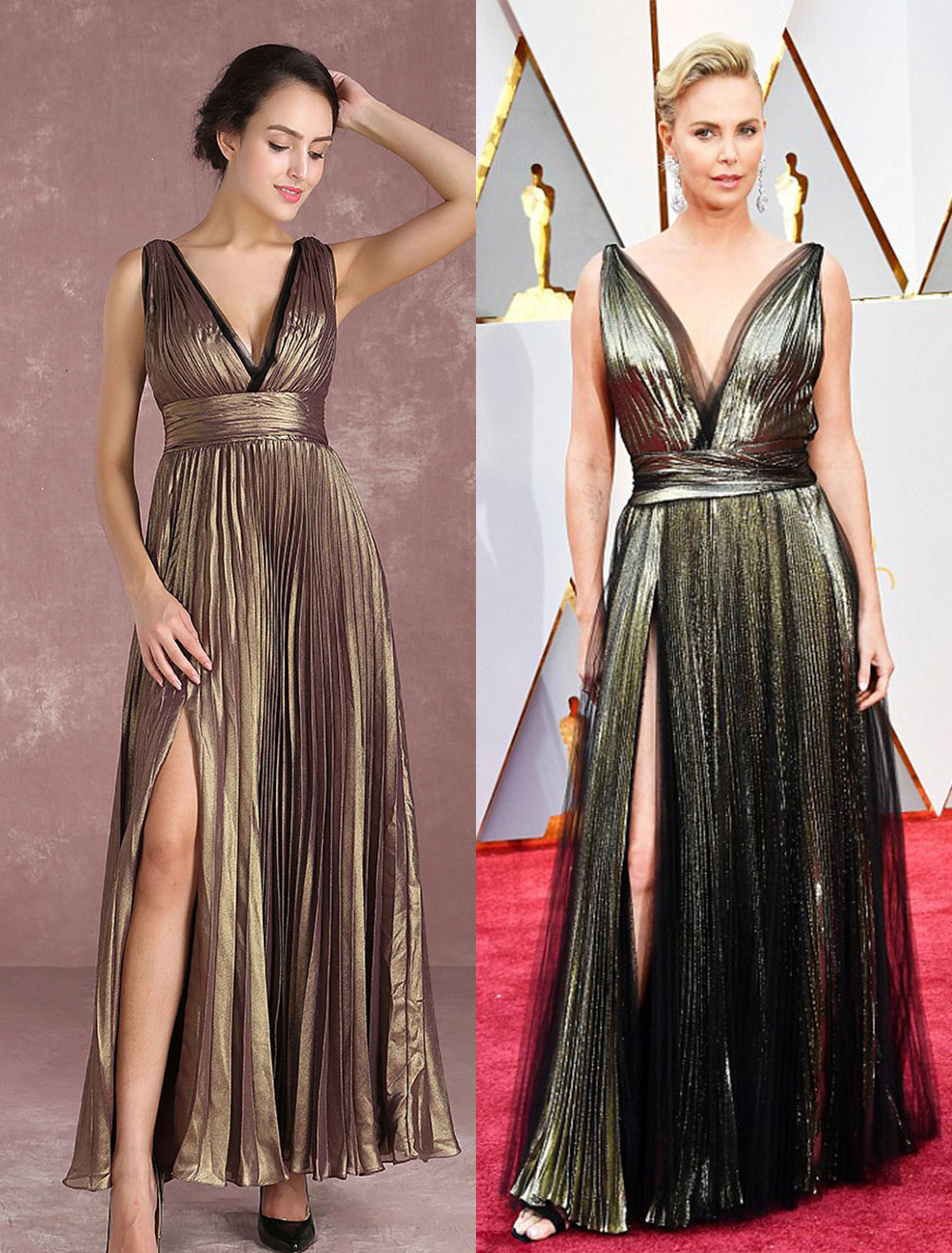 Chiffon Celebrity Dress Light Gold V Neck Pleated Floor Length Evening Dress Inspired By Charlize Theron At Oscar Milanoo
