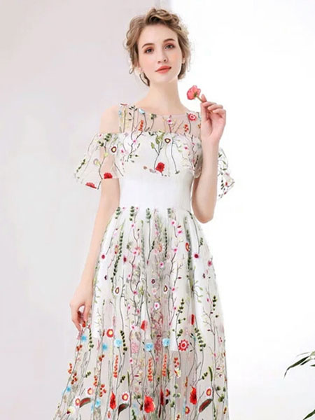 White Prom Dresses 2018 Short Ivory Floral Print Party