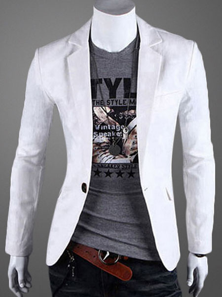 Men Blazer Casual Front Button Notch Collar White Cotton Suit Jacket 2018