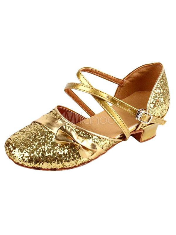 Zapatos de bailes latinos de tela con lentejuelas brillantes y lazo sOK09JZ