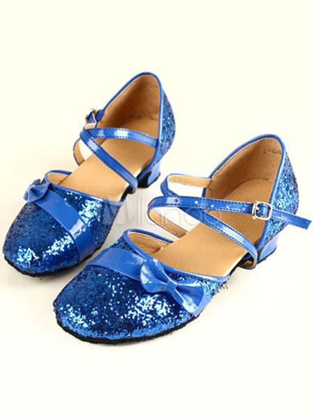 Zapatos de bailes latinos de tela con lentejuelas brillantes y lazo EB1sqMYT5C