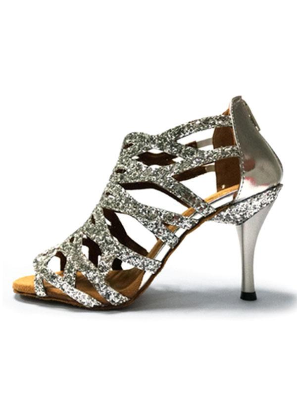Zapatos de bailes latinos Tela-brillantes de tacón de stiletto para baile de punter Peep Toe AxzUtiI2z