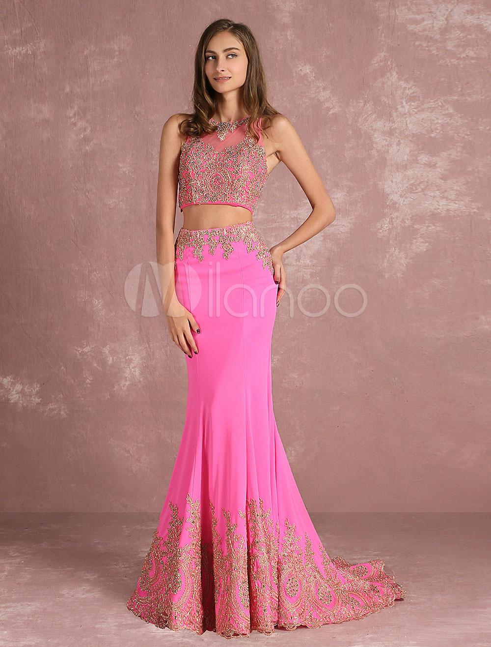 Vestido de noche rosa sin mangas con escote redondo con cuentas ...